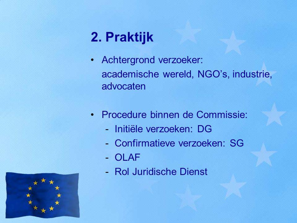 2. Praktijk Achtergrond verzoeker: academische wereld, NGO's, industrie, advocaten Procedure binnen de Commissie: -Initiële verzoeken: DG -Confirmatie