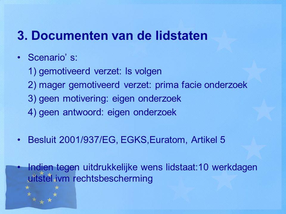 3. Documenten van de lidstaten Scenario' s: 1) gemotiveerd verzet: ls volgen 2) mager gemotiveerd verzet: prima facie onderzoek 3) geen motivering: ei