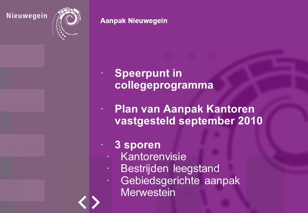 Aanpak Nieuwegein ·Speerpunt in collegeprogramma ·Plan van Aanpak Kantoren vastgesteld september 2010 ·3 sporen ·Kantorenvisie ·Bestrijden leegstand ·Gebiedsgerichte aanpak Merwestein