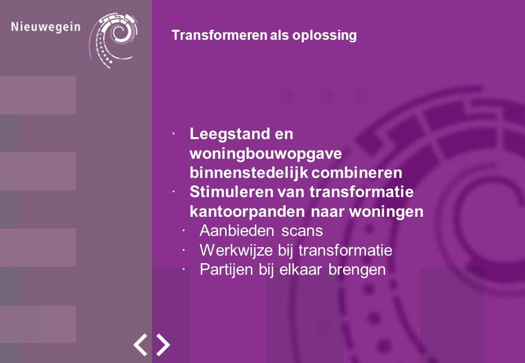 Transformeren als oplossing ·Leegstand en woningbouwopgave binnenstedelijk combineren ·Stimuleren van transformatie kantoorpanden naar woningen ·Aanbieden scans ·Werkwijze bij transformatie ·Partijen bij elkaar brengen