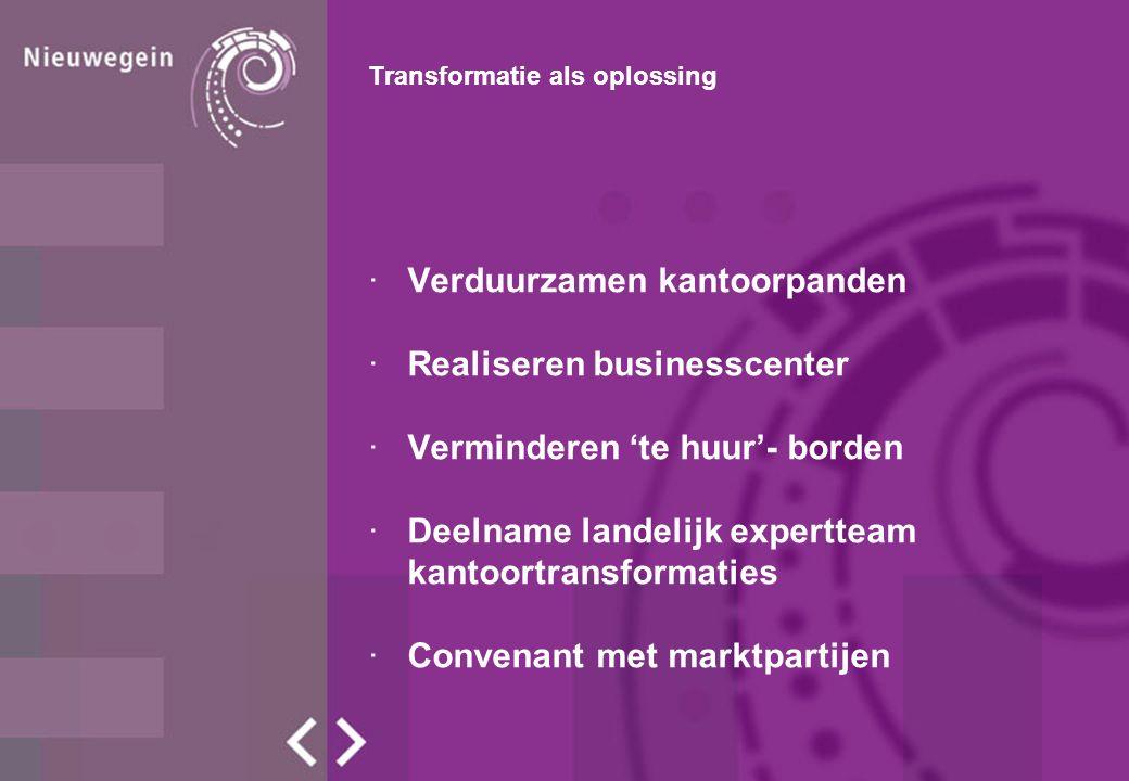Transformatie als oplossing ·Verduurzamen kantoorpanden ·Realiseren businesscenter ·Verminderen 'te huur'- borden ·Deelname landelijk expertteam kantoortransformaties ·Convenant met marktpartijen