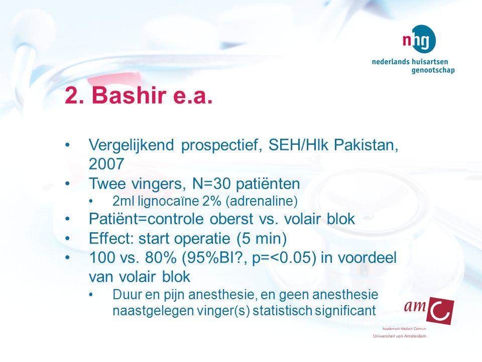 2. Bashir e.a. Vergelijkend prospectief, SEH/Hlk Pakistan, 2007 Twee vingers, N=30 patiënten 2ml lignocaïne 2% (adrenaline) Patiënt=controle oberst vs