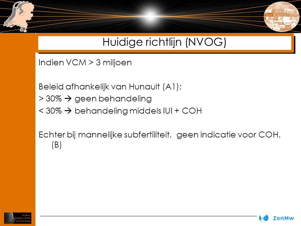 Indien VCM > 3 miljoen Beleid afhankelijk van Hunault (A1): > 30%  geen behandeling < 30%  behandeling middels IUI + COH Echter bij mannelijke subfertiliteit, geen indicatie voor COH.