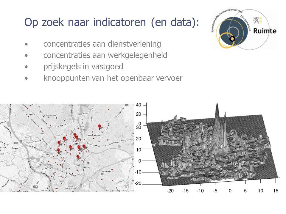 Op zoek naar indicatoren (en data): concentraties aan dienstverlening concentraties aan werkgelegenheid prijskegels in vastgoed knooppunten van het openbaar vervoer