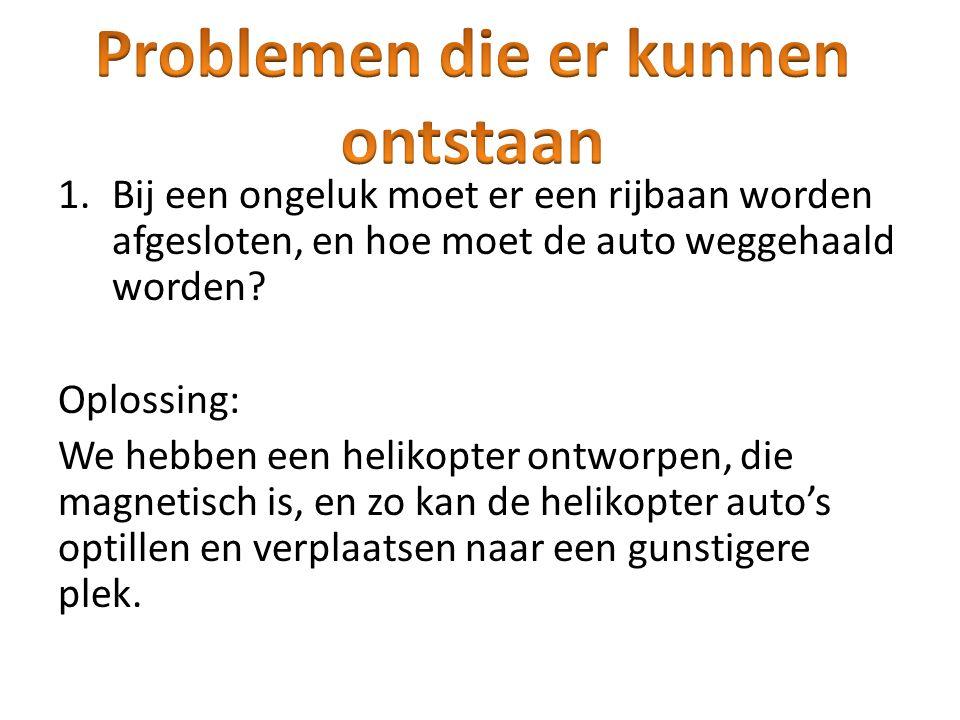 1.Bij een ongeluk moet er een rijbaan worden afgesloten, en hoe moet de auto weggehaald worden? Oplossing: We hebben een helikopter ontworpen, die mag