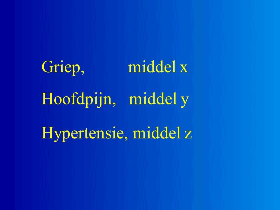 Hoofdpijn, middel y Hypertensie, middel z Griep, middel x