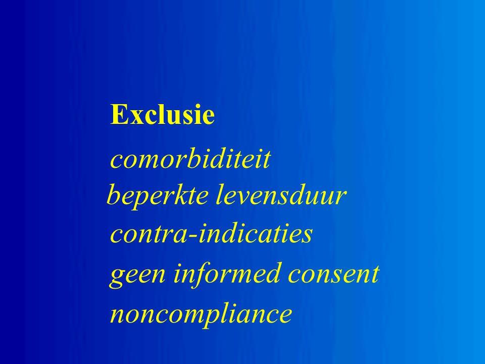 Exclusie comorbiditeit beperkte levensduur contra-indicaties geen informed consent noncompliance