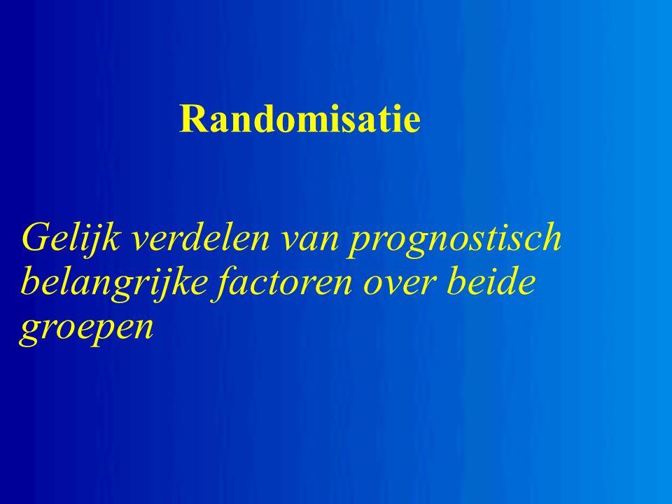 Randomisatie Gelijk verdelen van prognostisch belangrijke factoren over beide groepen
