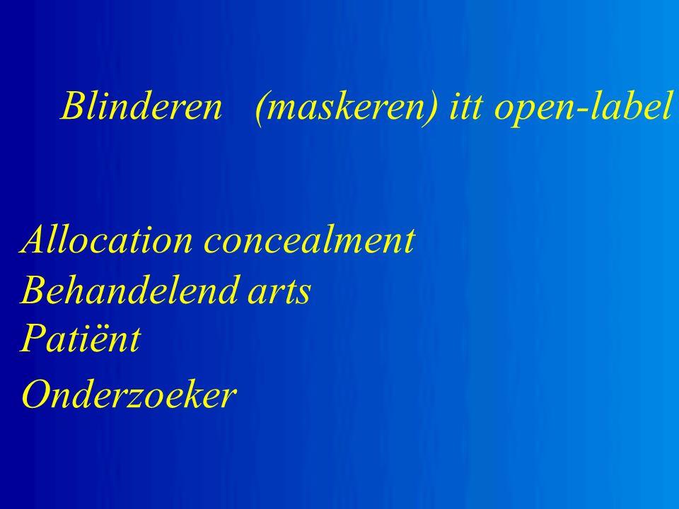 Blinderen (maskeren) itt open-label Allocation concealment Onderzoeker Behandelend arts Patiënt