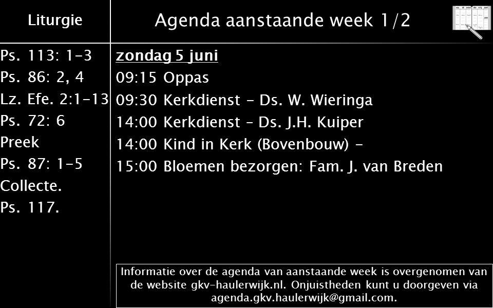 Ps.113: 1-3 Ps.86: 2, 4 Lz.Efe. 2:1-13 Ps.72: 6 Preek Ps.87: 1-5 Collecte. Ps.117. Liturgie Agenda aanstaande week 1/2 Informatie over de agenda van a