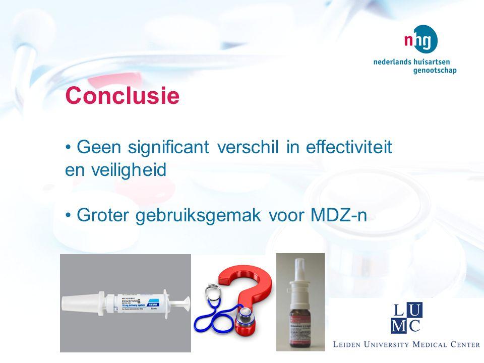 Conclusie Geen significant verschil in effectiviteit en veiligheid Groter gebruiksgemak voor MDZ-n