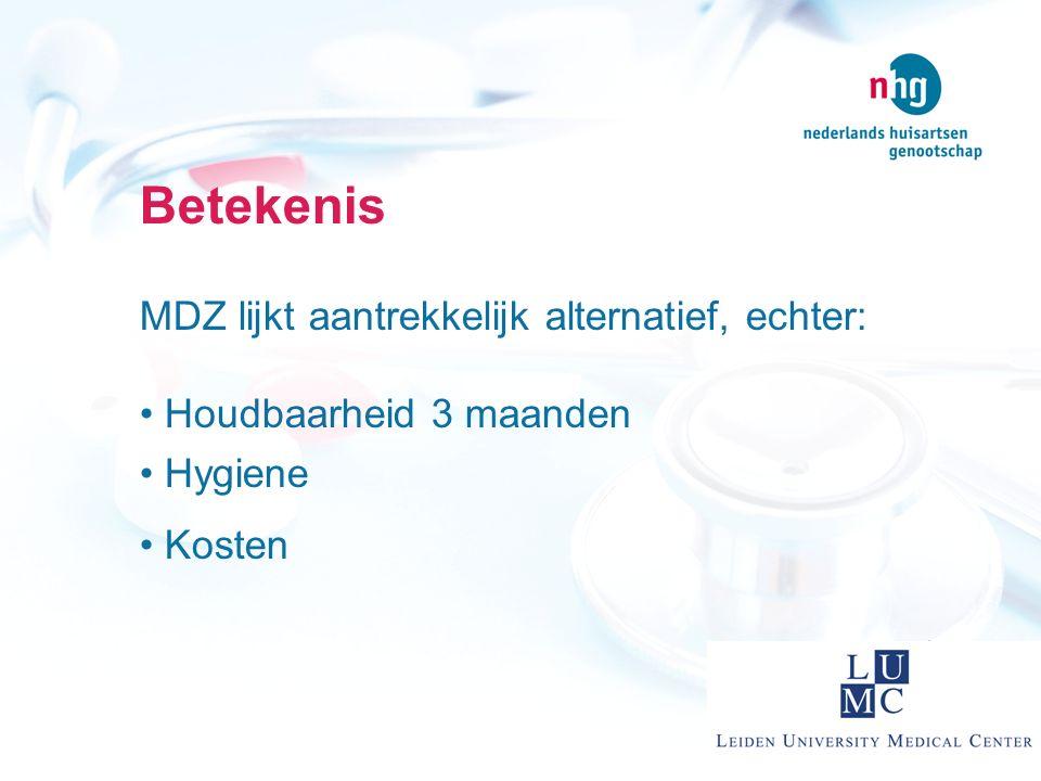 Betekenis MDZ lijkt aantrekkelijk alternatief, echter: Houdbaarheid 3 maanden Hygiene Kosten