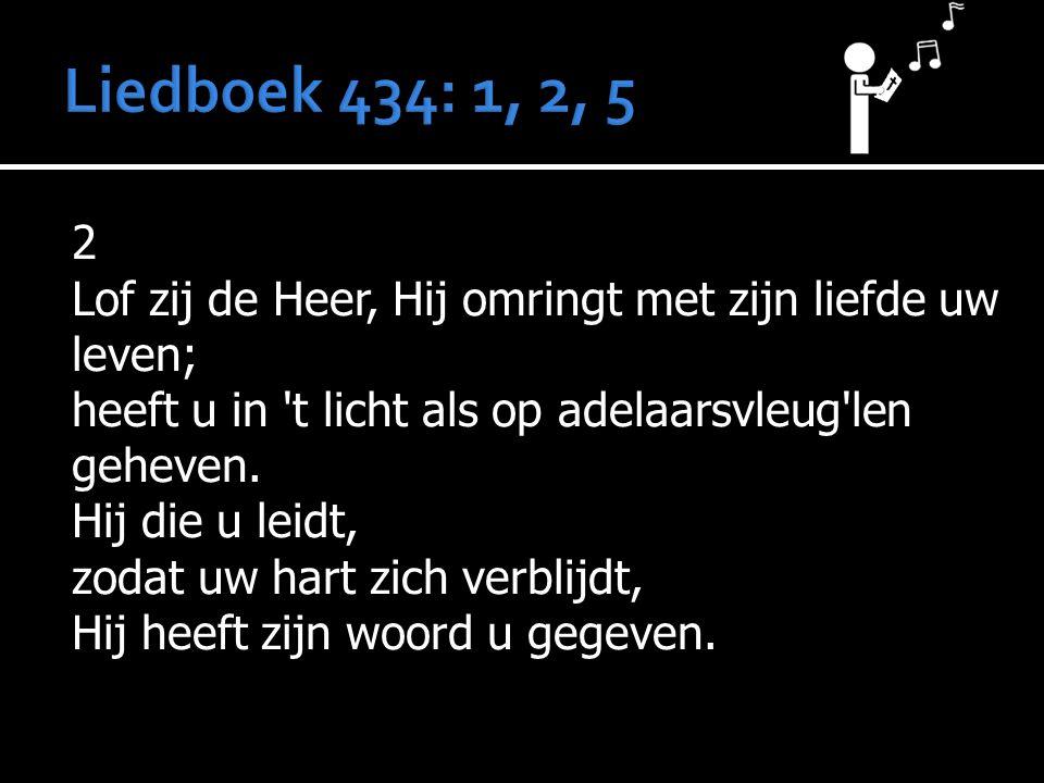 2 Lof zij de Heer, Hij omringt met zijn liefde uw leven; heeft u in 't licht als op adelaarsvleug'len geheven. Hij die u leidt, zodat uw hart zich ver