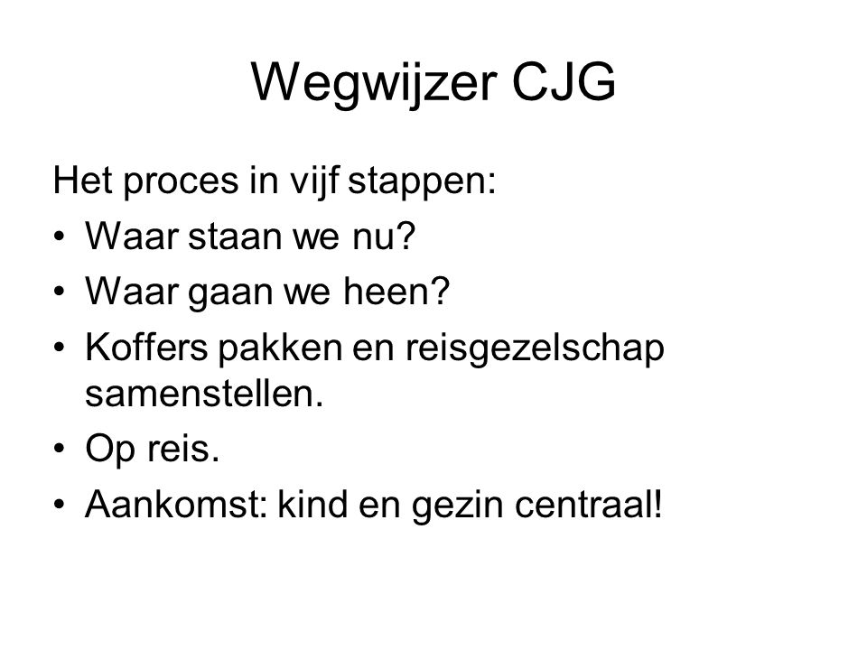 Wegwijzer CJG Het proces in vijf stappen: Waar staan we nu? Waar gaan we heen? Koffers pakken en reisgezelschap samenstellen. Op reis. Aankomst: kind