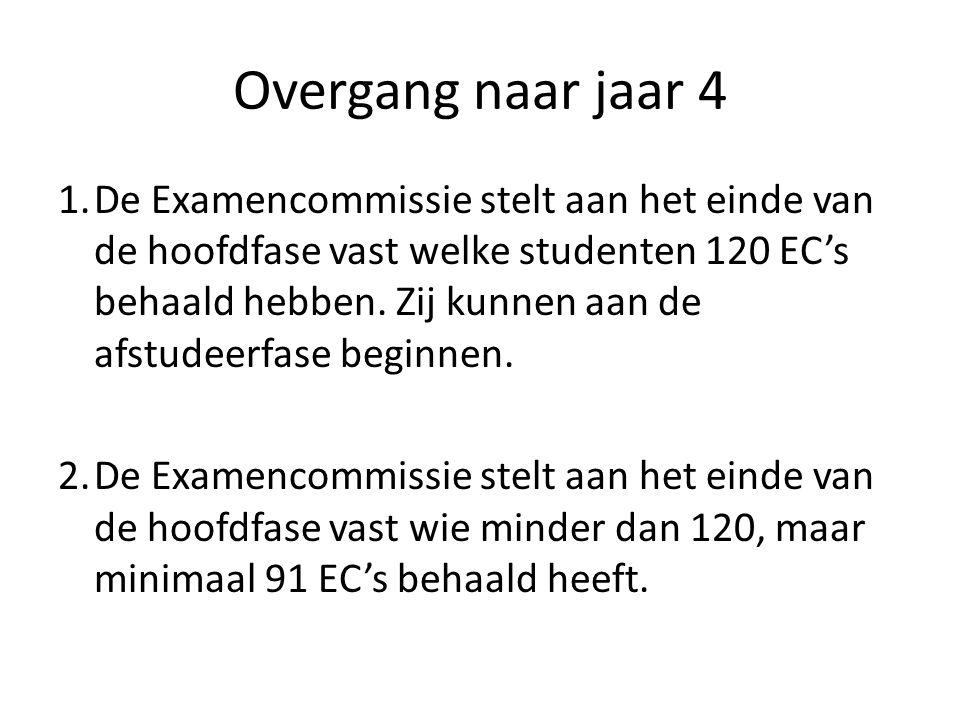 Overgang naar jaar 4 3.De Examencommissie geeft bij studenten die minimaal 91, maar minder dan 120 EC's behaald hebben en die aan de voorwaarden genoemd bij N.B.