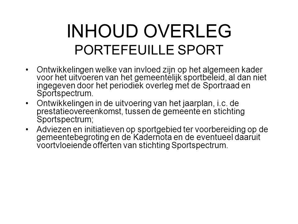 INHOUD OVERLEG PORTEFEUILLE SPORT Ontwikkelingen welke van invloed zijn op het algemeen kader voor het uitvoeren van het gemeentelijk sportbeleid, al dan niet ingegeven door het periodiek overleg met de Sportraad en Sportspectrum.