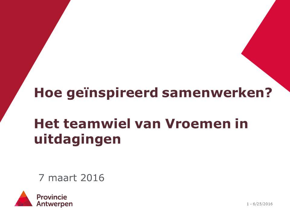 1 - 6/25/2016 Hoe geïnspireerd samenwerken? Het teamwiel van Vroemen in uitdagingen 7 maart 2016
