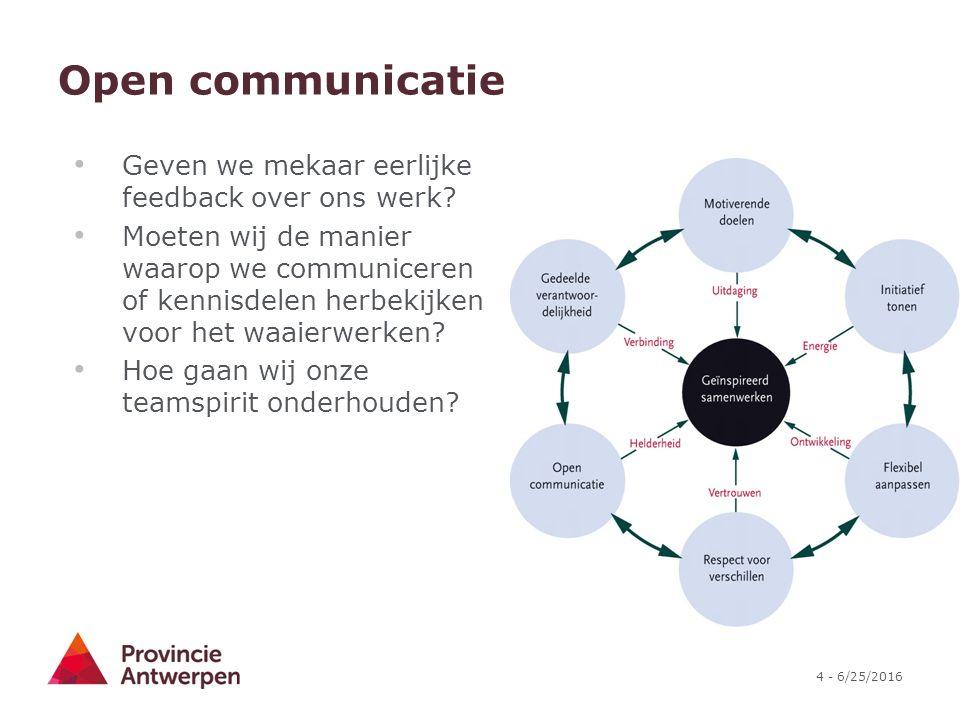 4 - 6/25/2016 Open communicatie Geven we mekaar eerlijke feedback over ons werk.