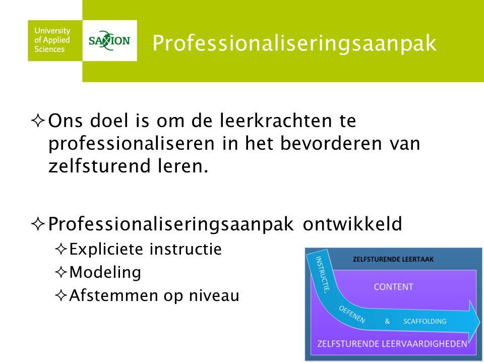 Professionaliseringsaanpak  Ons doel is om de leerkrachten te professionaliseren in het bevorderen van zelfsturend leren.  Professionaliseringsaanpa