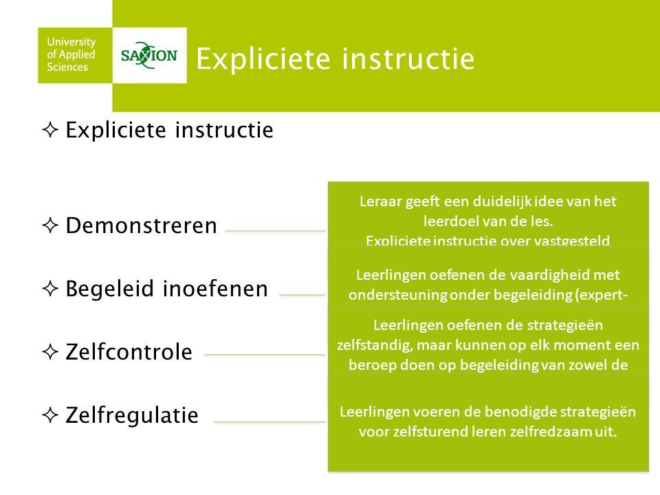 Expliciete instructie  Expliciete instructie  Demonstreren  Begeleid inoefenen  Zelfcontrole  Zelfregulatie Leraar geeft een duidelijk idee van het leerdoel van de les.