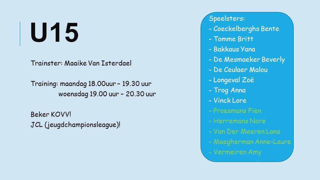 U15 Trainster: Maaike Van Isterdael Training: maandag 18.00uur – 19.30 uur woensdag 19.00 uur – 20.30 uur Beker KOVV.