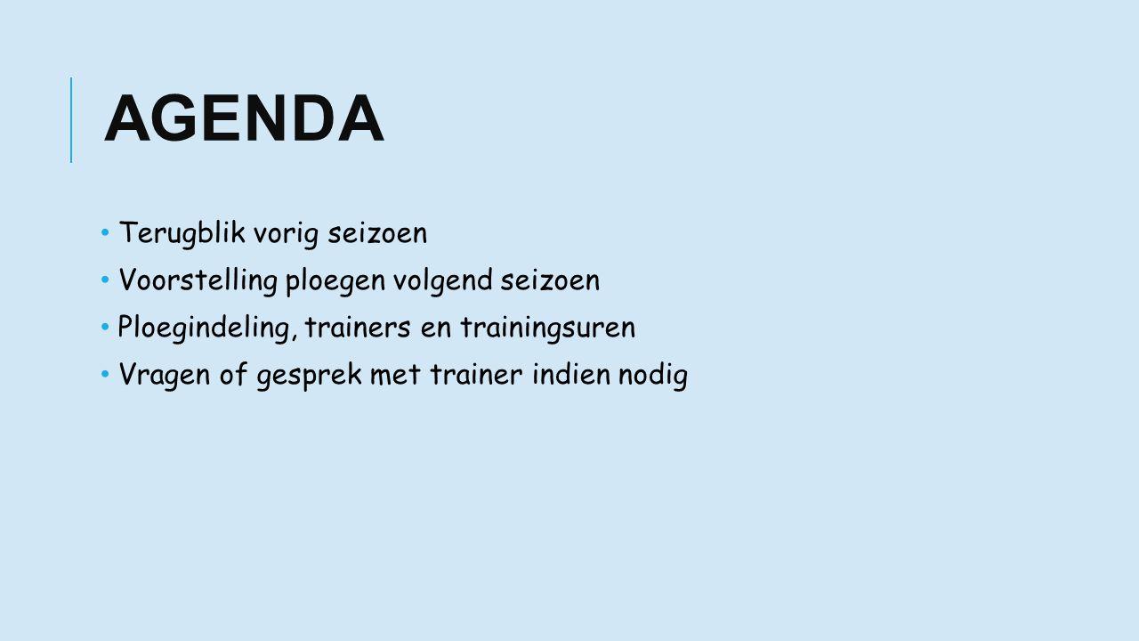 AGENDA Terugblik vorig seizoen Voorstelling ploegen volgend seizoen Ploegindeling, trainers en trainingsuren Vragen of gesprek met trainer indien nodig