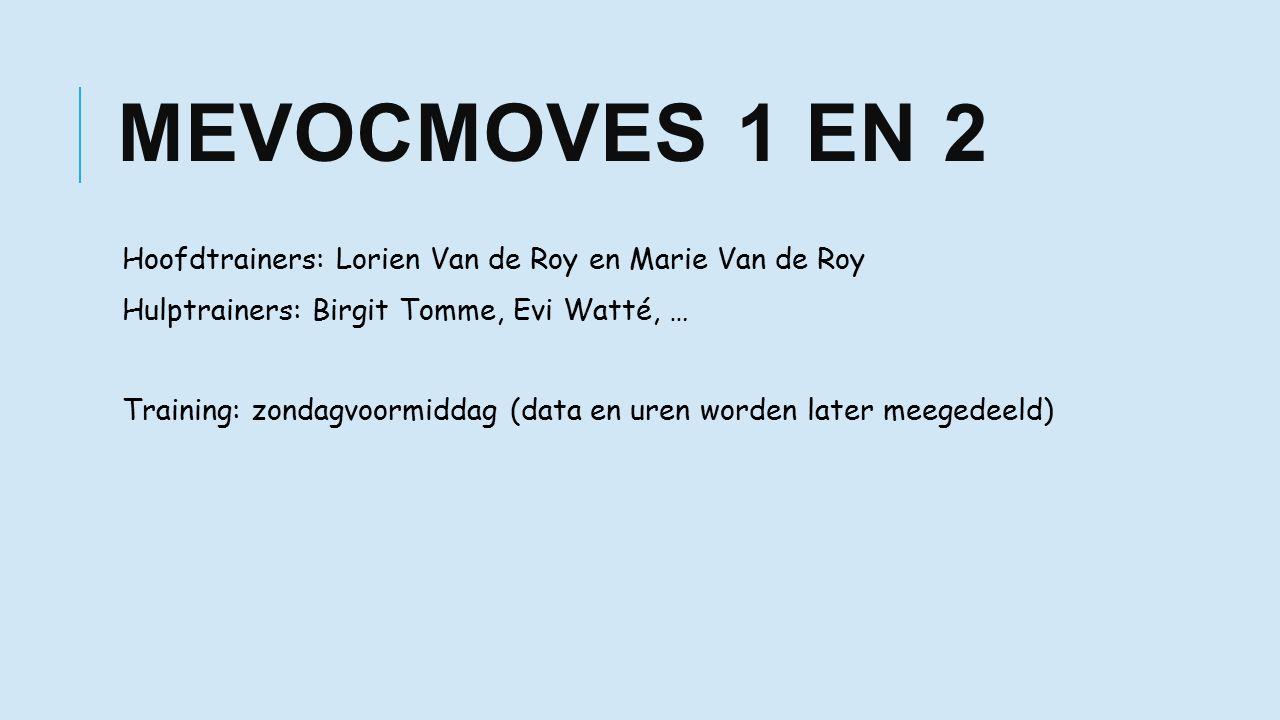 MEVOCMOVES 1 EN 2 Hoofdtrainers: Lorien Van de Roy en Marie Van de Roy Hulptrainers: Birgit Tomme, Evi Watté, … Training: zondagvoormiddag (data en uren worden later meegedeeld)