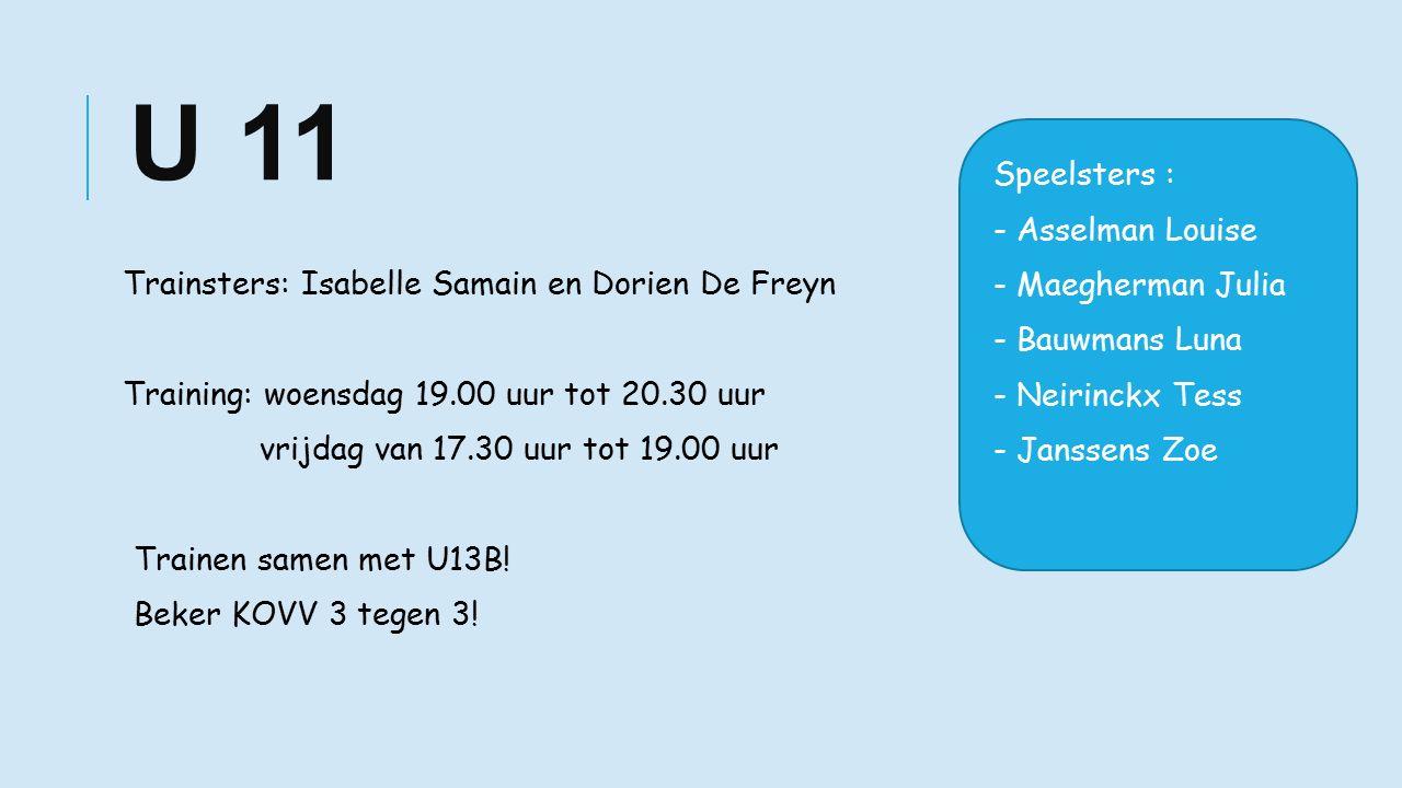 U 11 Trainsters: Isabelle Samain en Dorien De Freyn Training: woensdag 19.00 uur tot 20.30 uur vrijdag van 17.30 uur tot 19.00 uur Trainen samen met U13B.