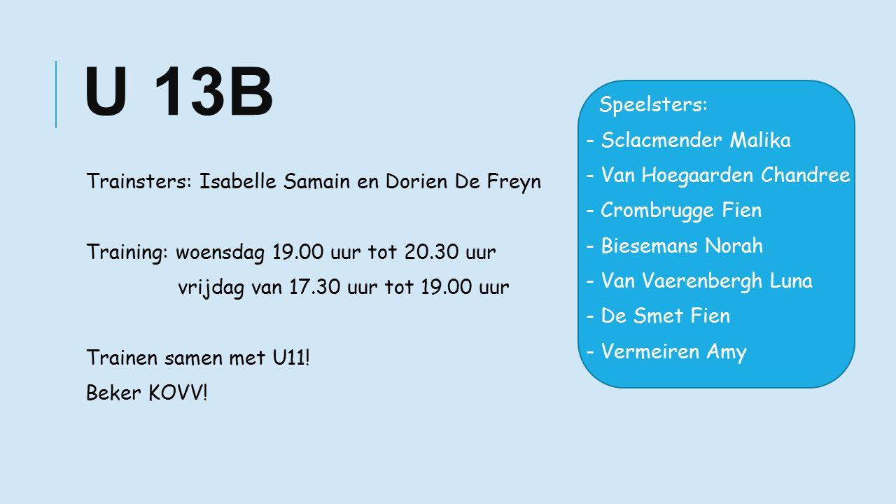 U 13B Trainsters: Isabelle Samain en Dorien De Freyn Training: woensdag 19.00 uur tot 20.30 uur vrijdag van 17.30 uur tot 19.00 uur Trainen samen met U11.