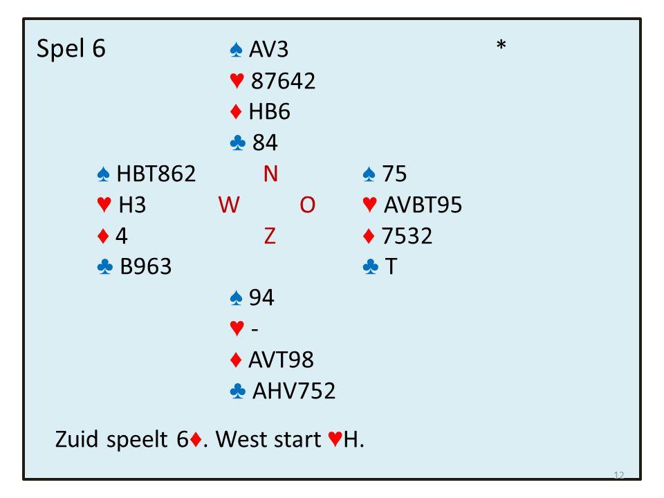 Spel 6 ♠ AV3 * ♥ 87642 ♦ HB6 ♣ 84 ♠ HBT862 N ♠ 75 ♥ H3 W O ♥ AVBT95 ♦ 4 Z ♦ 7532 ♣ B963 ♣ T ♠ 94 ♥ - ♦ AVT98 ♣ AHV752 Zuid speelt 6 ♦. West start ♥ H.