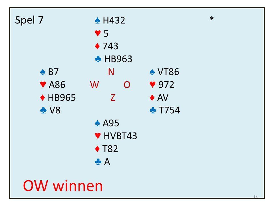 Spel 7 ♠ H432 * ♥ 5 ♦ 743 ♣ HB963 ♠ B7 N ♠ VT86 ♥ A86 W O ♥ 972 ♦ HB965 Z ♦ AV ♣ V8 ♣ T754 ♠ A95 ♥ HVBT43 ♦ T82 ♣ A OW winnen 15
