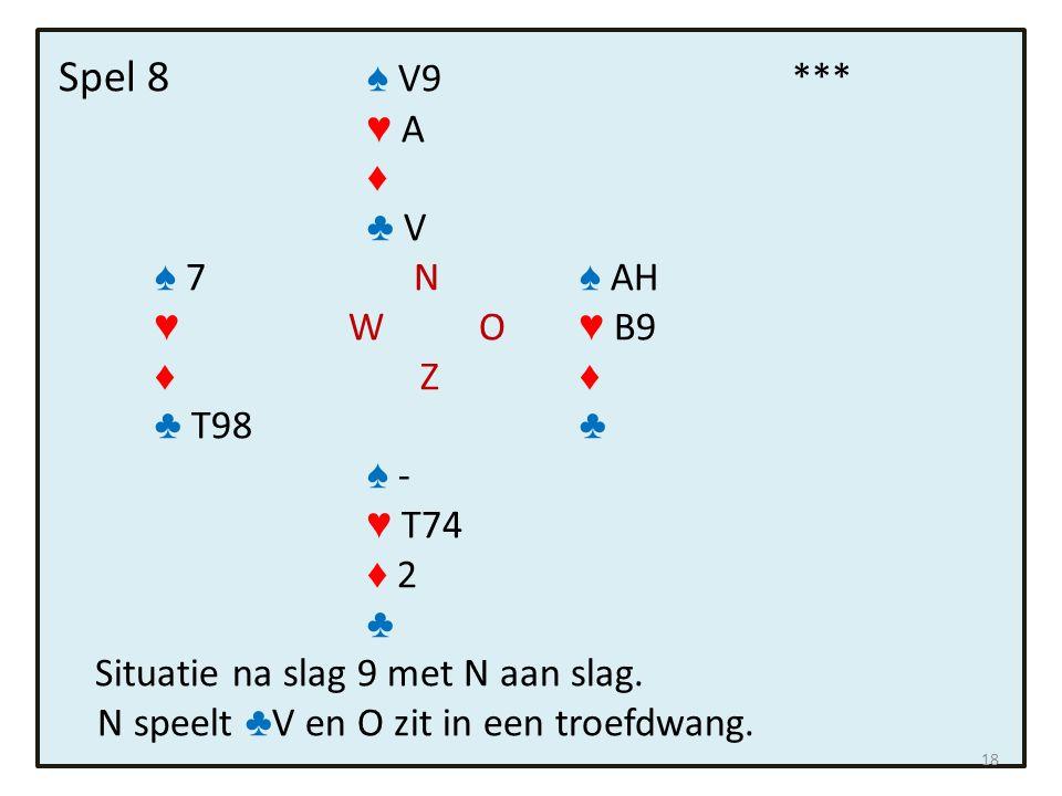Spel 8 ♠ V9 *** ♥ A ♦ ♣ V ♠ 7 N ♠ AH ♥ W O ♥ B9 ♦ Z ♦ ♣ T98 ♣ ♠ - ♥ T74 ♦ 2 ♣ Situatie na slag 9 met N aan slag. N speelt ♣ V en O zit in een troefdwa