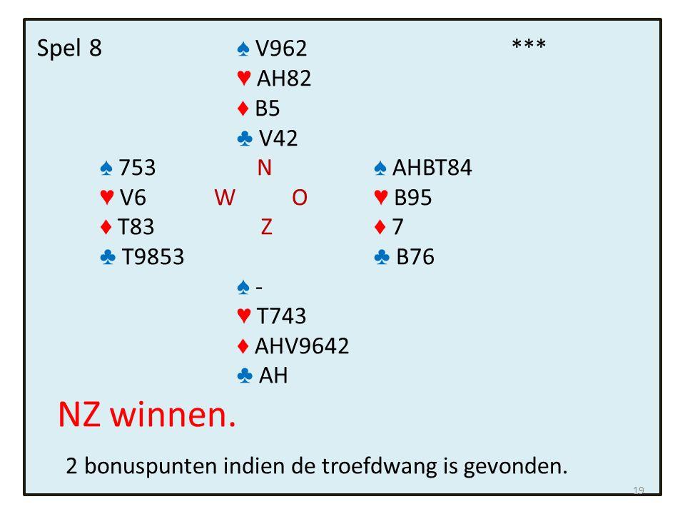 Spel 8 ♠ V962 *** ♥ AH82 ♦ B5 ♣ V42 ♠ 753 N ♠ AHBT84 ♥ V6 W O ♥ B95 ♦ T83 Z ♦ 7 ♣ T9853 ♣ B76 ♠ - ♥ T743 ♦ AHV9642 ♣ AH NZ winnen.