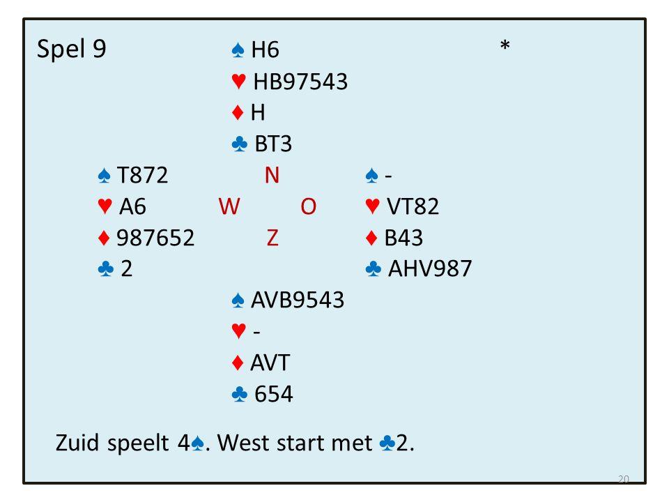 Spel 9 ♠ H6 * ♥ HB97543 ♦ H ♣ BT3 ♠ T872 N ♠ - ♥ A6 W O ♥ VT82 ♦ 987652 Z ♦ B43 ♣ 2 ♣ AHV987 ♠ AVB9543 ♥ - ♦ AVT ♣ 654 Zuid speelt 4 ♠. West start met