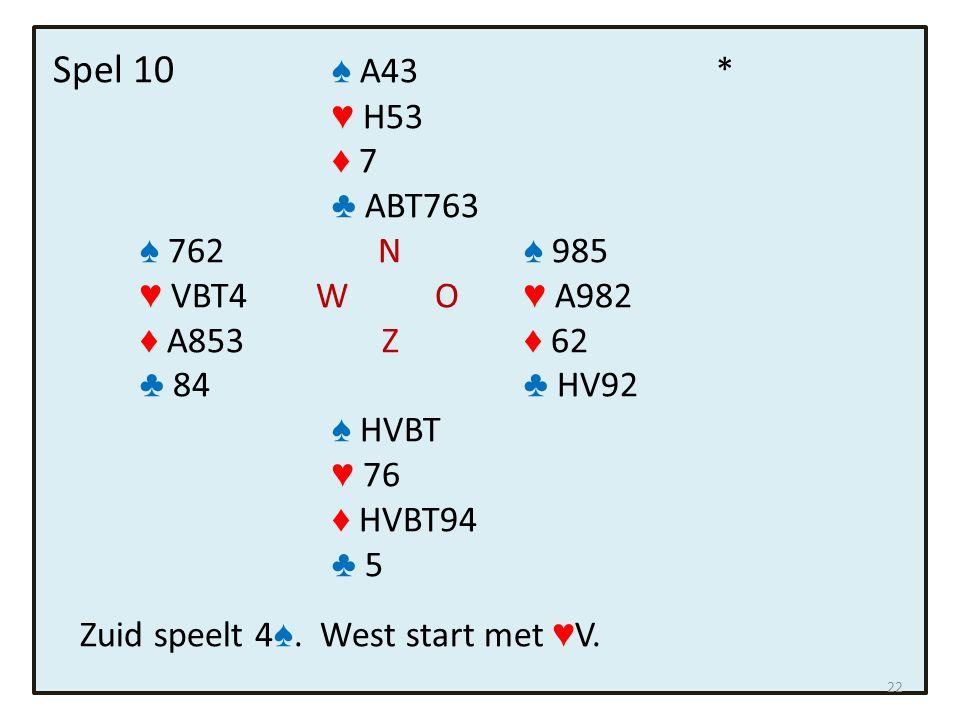 Spel 10 ♠ A43 * ♥ H53 ♦ 7 ♣ ABT763 ♠ 762 N ♠ 985 ♥ VBT4 W O ♥ A982 ♦ A853 Z ♦ 62 ♣ 84 ♣ HV92 ♠ HVBT ♥ 76 ♦ HVBT94 ♣ 5 Zuid speelt 4 ♠. West start met