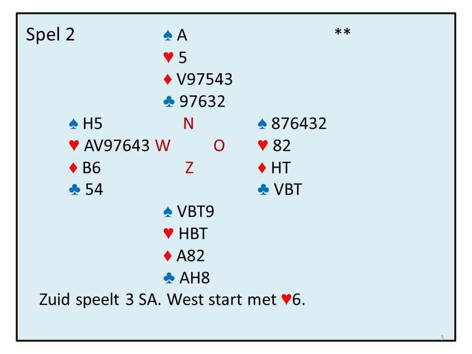 Spel 7 ♠ H432 * ♥ 5 ♦ 743 ♣ HB963 ♠ B7 N ♠ VT86 ♥ A86 W O ♥ 972 ♦ HB965 Z ♦ AV ♣ V82 ♣ T754 ♠ A95 ♥ HVBT43 ♦ T82 ♣ A Zuid speelt 3 ♥.