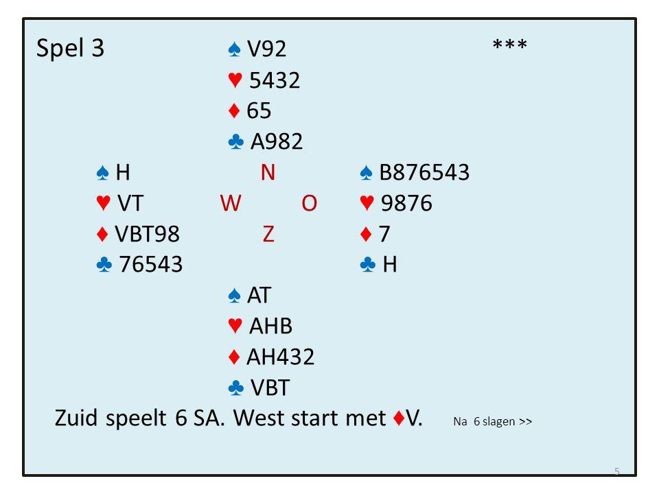 Spel 3 ♠ V92*** ♥ 5432 ♦ 65 ♣ A982 ♠ H N ♠ B876543 ♥ VT W O ♥ 9876 ♦ VBT98 Z ♦ 7 ♣ 76543 ♣ H ♠ AT ♥ AHB ♦ AH432 ♣ VBT Zuid speelt 6 SA.