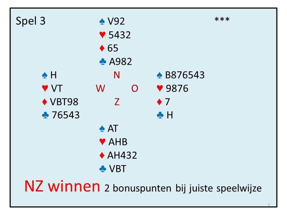 Spel 4 ♠ AH65 * ♥ B984 ♦ 5 ♣ HVB6 ♠ V8432 N ♠ B7 ♥ H7 W O ♥ A62 ♦ 73 Z ♦ HVB962 ♣ T872 ♣ 93 ♠ T9 ♥ VT53 ♦ AT84 ♣ A54 Zuid speelt 3 SA.