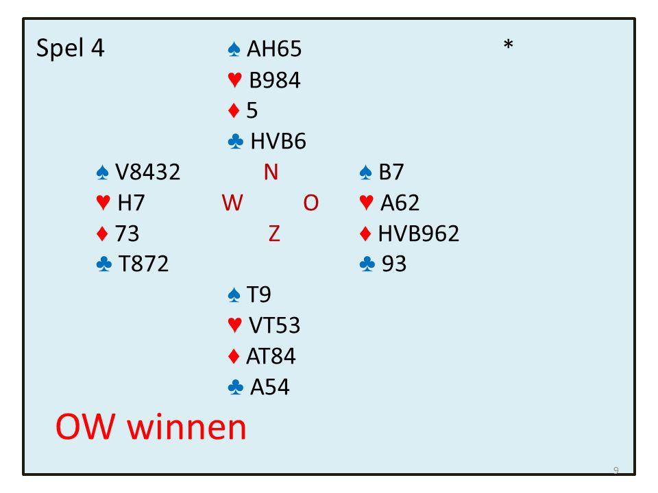 Spel 5 ♠ B5 * ♥ 52 ♦ VB976 ♣ BT92 ♠ HVT N ♠ 976432 ♥ VBT986 W O ♥ 73 ♦ - Z ♦ H85 ♣ V643 ♣ H5 ♠ A8 ♥ AH4 ♦ AT432 ♣ A87 Zuid speelt 5 ♦.