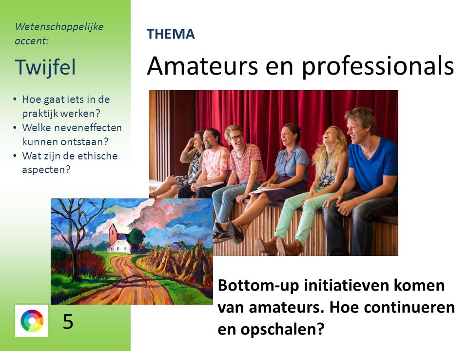 Amateurs en professionals Twijfel Bottom-up initiatieven komen van amateurs.