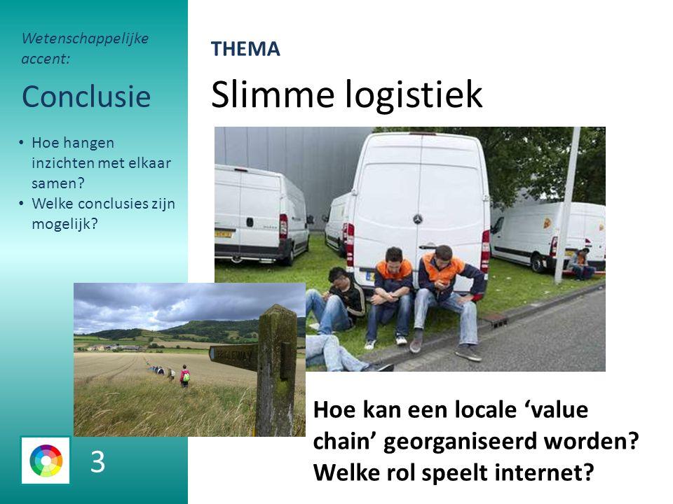 Slimme logistiek Conclusie Hoe kan een locale 'value chain' georganiseerd worden.