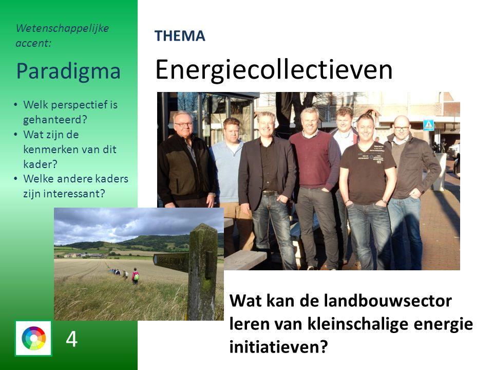 Energiecollectieven Paradigma Wat kan de landbouwsector leren van kleinschalige energie initiatieven.