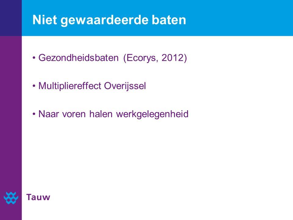 Niet gewaardeerde baten Gezondheidsbaten (Ecorys, 2012) Multipliereffect Overijssel Naar voren halen werkgelegenheid