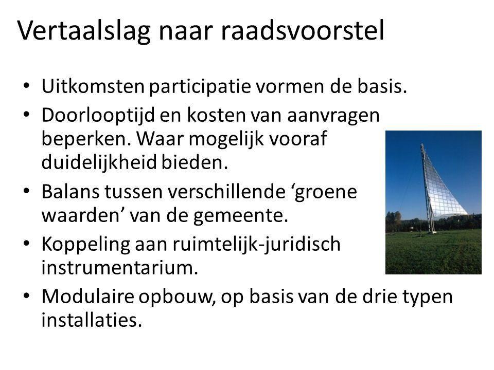 Vertaalslag naar raadsvoorstel Uitkomsten participatie vormen de basis.