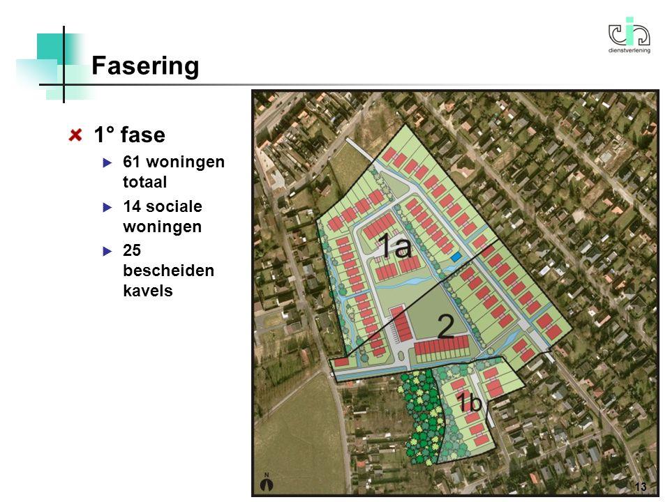 1° fase  61 woningen totaal  14 sociale woningen  25 bescheiden kavels Fasering 13