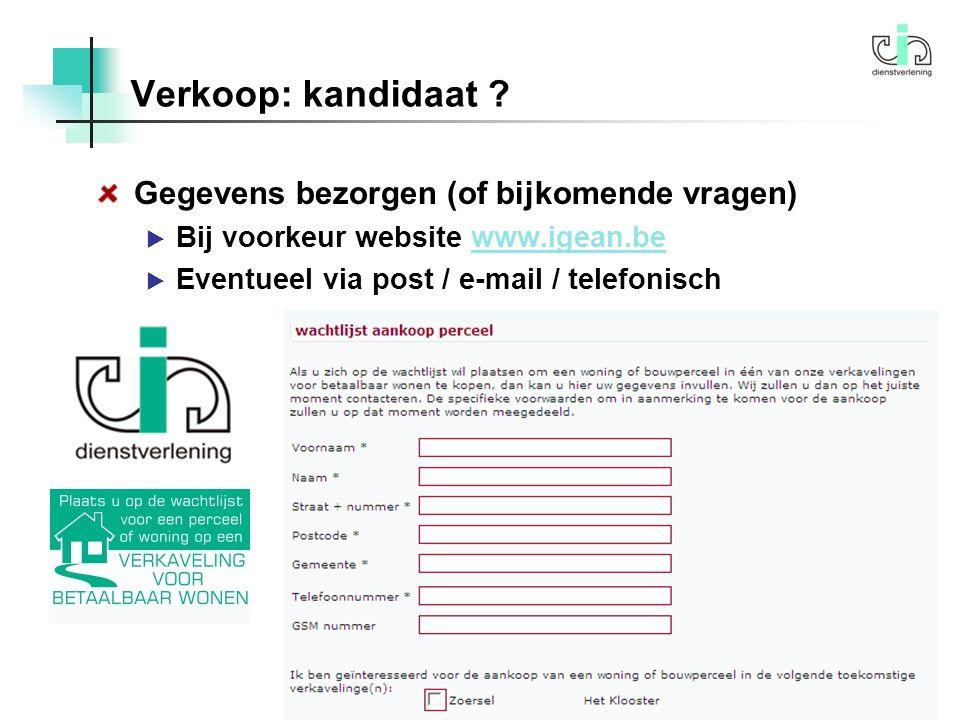 Verkoop: kandidaat .