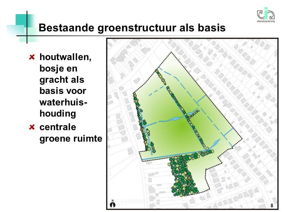 houtwallen, bosje en gracht als basis voor waterhuis- houding centrale groene ruimte Bestaande groenstructuur als basis 8