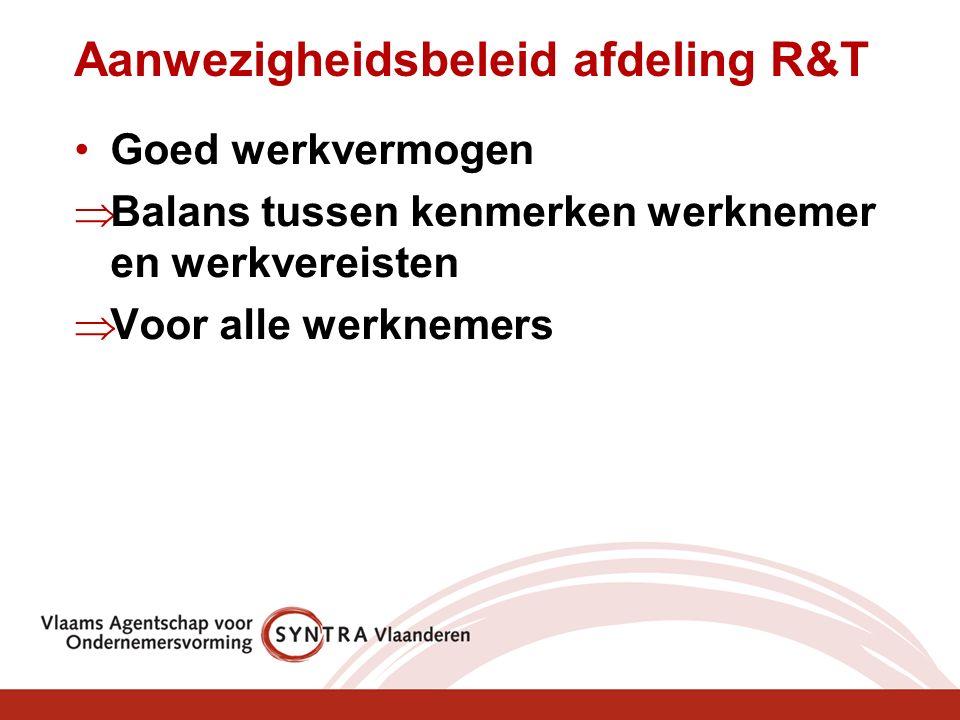 Aanwezigheidsbeleid afdeling R&T Goed werkvermogen  Balans tussen kenmerken werknemer en werkvereisten  Voor alle werknemers