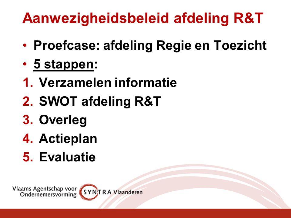 Aanwezigheidsbeleid afdeling R&T Proefcase: afdeling Regie en Toezicht 5 stappen: 1.Verzamelen informatie 2.SWOT afdeling R&T 3.Overleg 4.Actieplan 5.Evaluatie