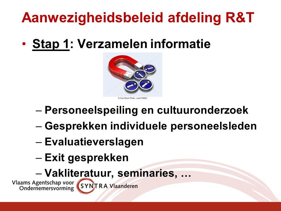 Aanwezigheidsbeleid afdeling R&T Stap 1: Verzamelen informatie –Personeelspeiling en cultuuronderzoek –Gesprekken individuele personeelsleden –Evaluatieverslagen –Exit gesprekken –Vakliteratuur, seminaries, …
